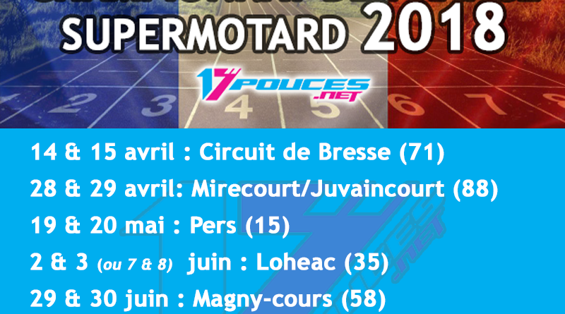 Calendrier course supermotard championnat de France 2018
