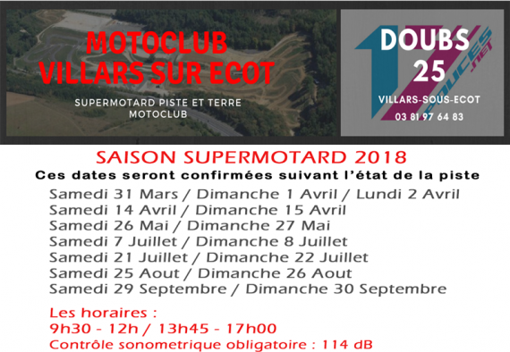 Villars sous écot dates supermotard 2018