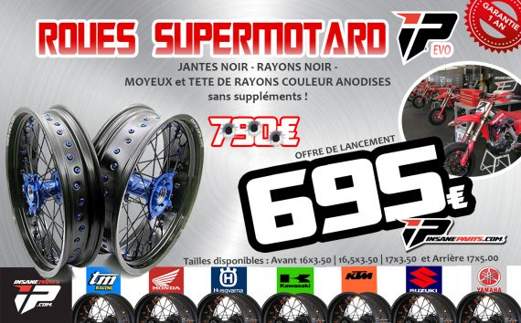 Roues supermotard shop insane-parts.com pour moto cross, enduro KTM , Husqvarna , Honda , yamaha , suzuki , TM